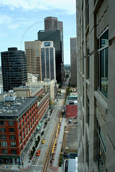 Downtown Denver Colorado from a highrise photo