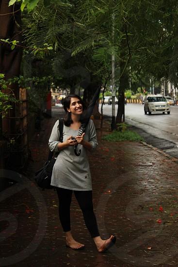 The girl with an umbrella. photo