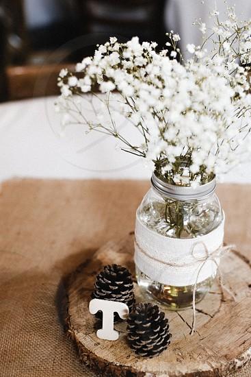 wedding centerpiece rustic pine flowers decorations photo