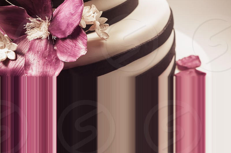 Details of a wedding or a birthday cake triple size in studio on white background. Purple sugar flowers as main decoration.  photo