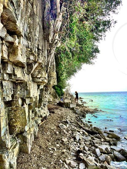 Lake rocks water stones rock wall photo