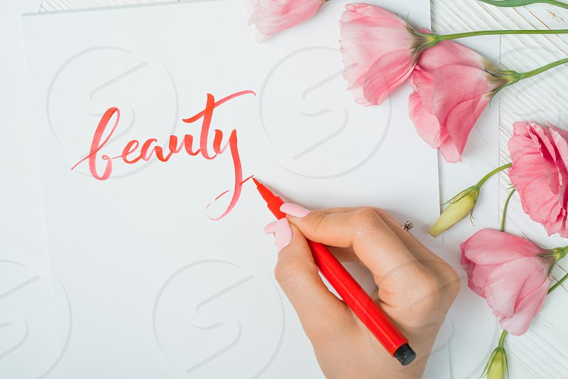 Closeup of calligrapher hands writes word beauty on white paper. Inscribing ornamental decorated letters. Calligraphy graphic design lettering handwriting creation concept. photo