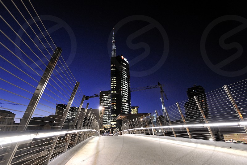 Milano Italy by night in Porta Nuova district photo