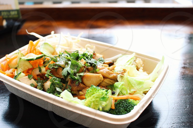 photo of vegetable salad with broccoli cabbage and carrots photo