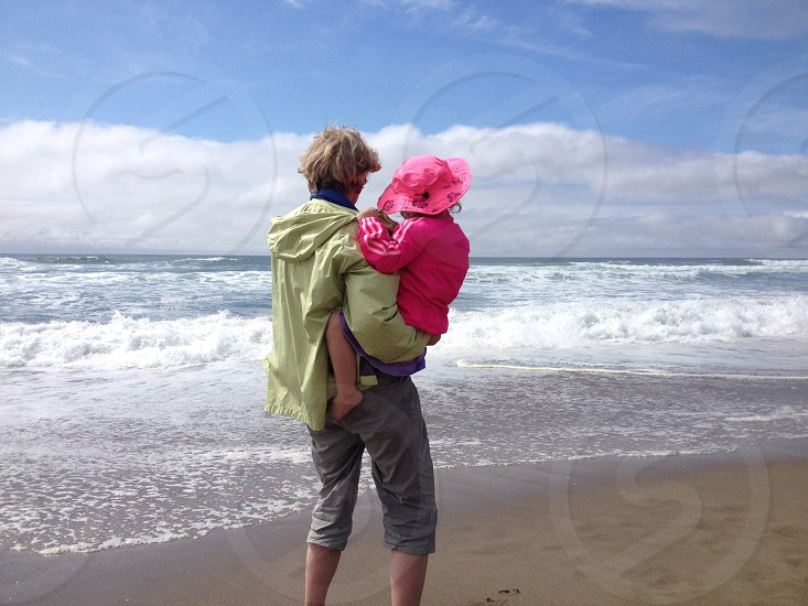 Family vacation Oregon coast grandmother granddaughter beach photo