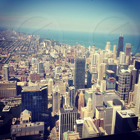 View of Chicago from Willis tower photo
