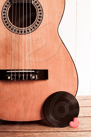 Guitar vinyl record heart love music passion recording studio band live strings instrument musical photo