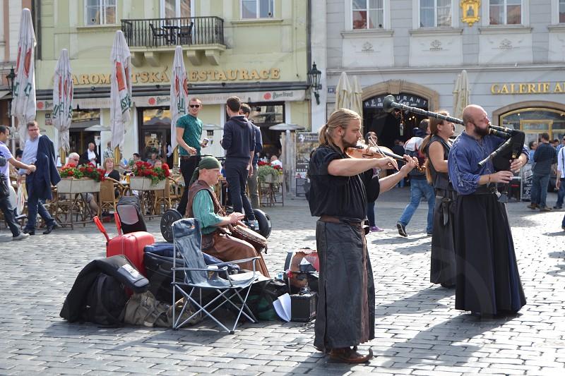 Street performers in Prague photo