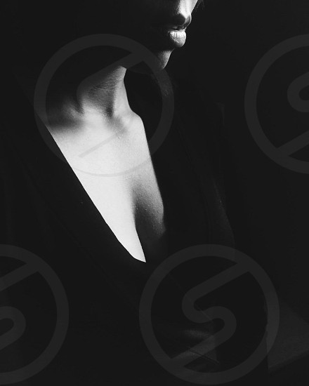 woman in black v neck long sleeved shirt photo