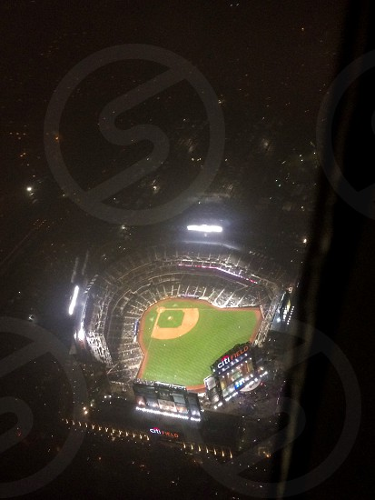 I was flying home from NY and the Mets were playing at home and I was fortunate enough to take this phot of the stadium in the sky.  photo