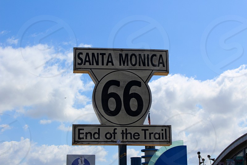 End of Route 66 at Santa Monica Pier in California photo