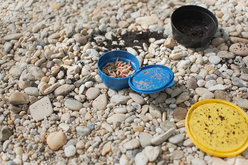 Maggots Fishing Bait in Blue Plastic Jar on Pebble Ground photo