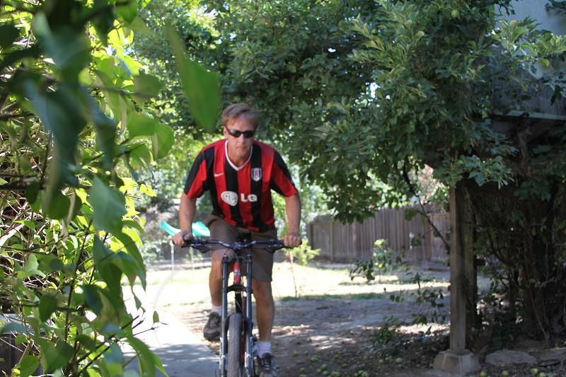 Man on a mountain bike photo