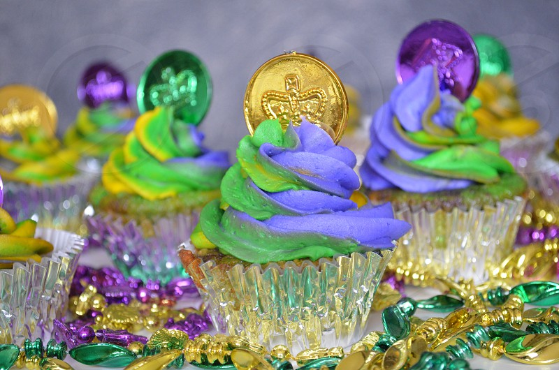 Mardi Gras cupcakes with mardi gras beads perfect for Fat Tuesday photo