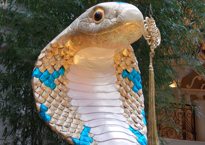 gold white and teal king cobra statue against green tall tree with gold chinese knot photo