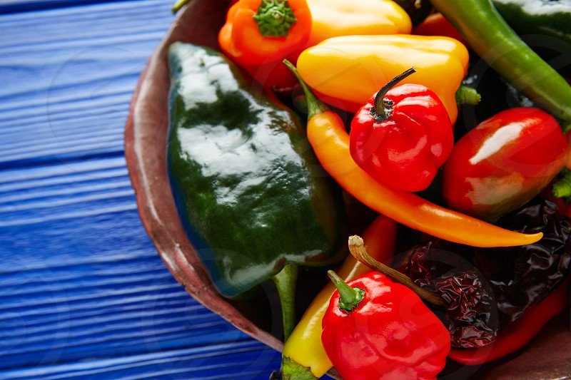Mexican hot chili peppers colorful mix habanero poblano serrano jalapeno sweet photo