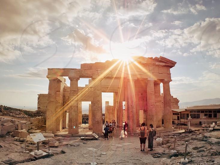 Sunset over Propylaea at Acropolis photo
