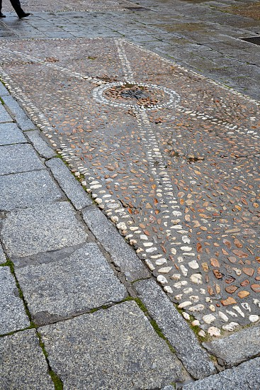 Salamanca in spain stones flooring detail along via de la Plata way to Santiago photo
