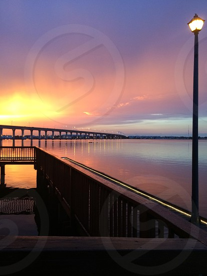 Stuart Florida sunset bridge boardwalk  photo