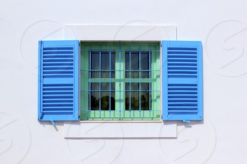 balearic islands Formentera white houses blue windows architecture detail photo