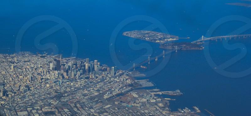 Aerial view of San Francisco down town and bay bridge.  photo