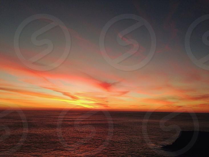 seawater at sunset photo