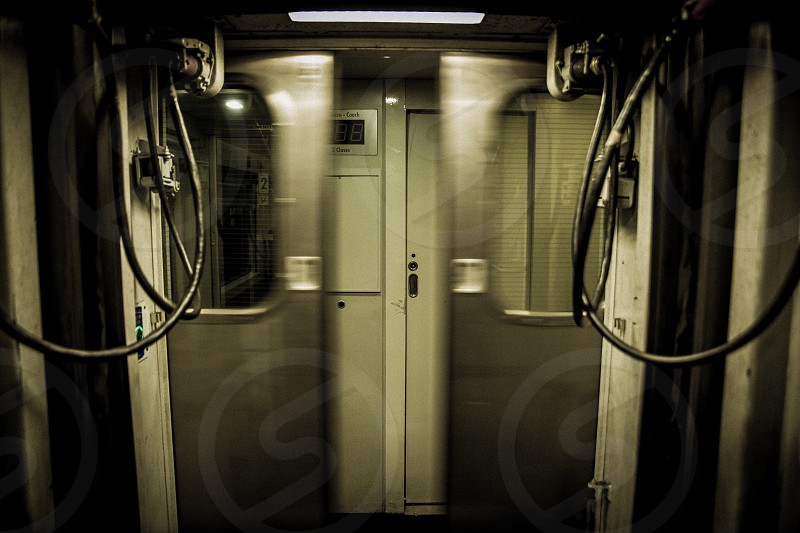 Train doors closing quickly frontally photo