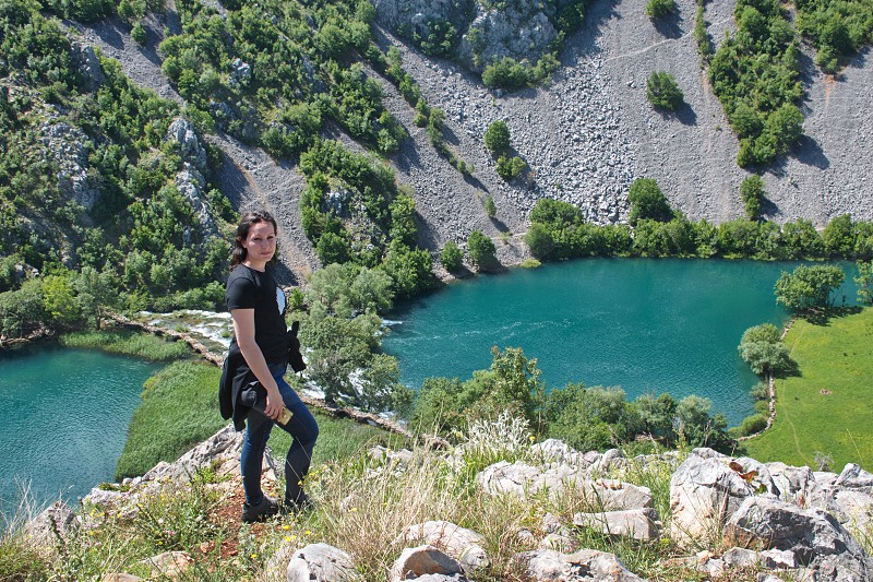 High angle view of the river canyon in Croatia portrait of the young woman photo
