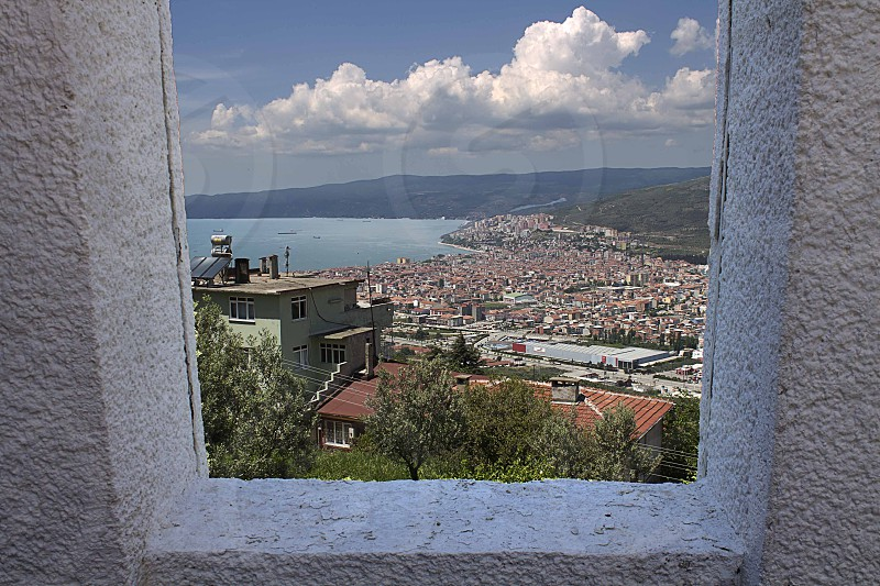 A view of the Gemlik village from the inside of a lighthouse in Turkey photo