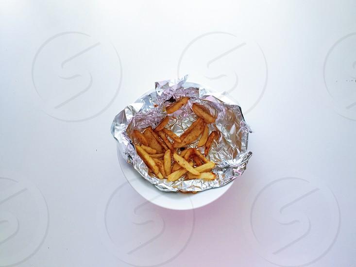 Homemade fries potatoes recipe aluminium bowl food chips hot food white eat minimalism minimalist simplicity health nutrition food styling photo