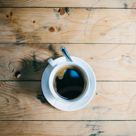 Coffee natural light rustic wood on the table breakfast coffee  photo