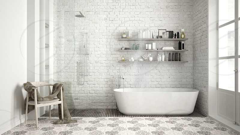 Scandinavian bathroom classic white vintage interior design photo