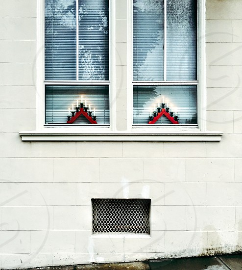 Holiday decoration in windows.  photo