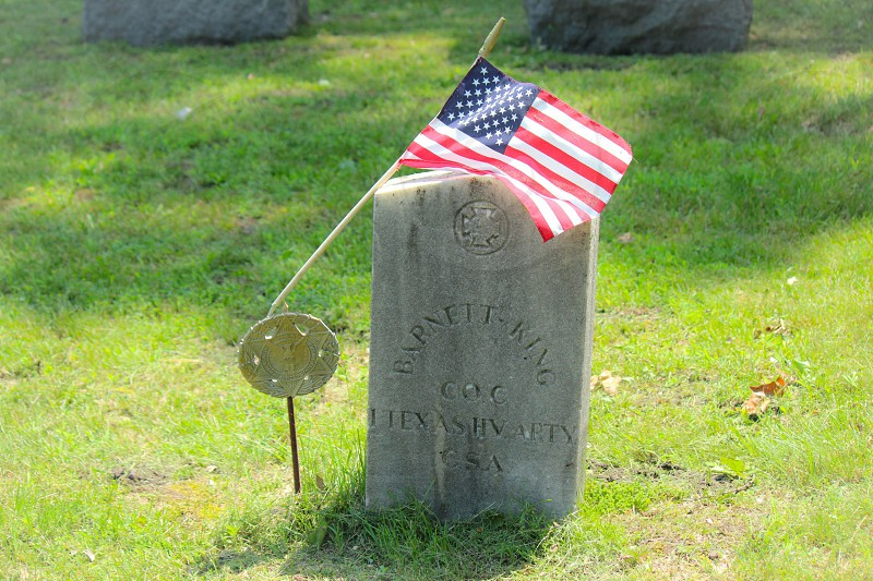 Flag grave alone solitary cemetary solemn soldier marker civil war  photo