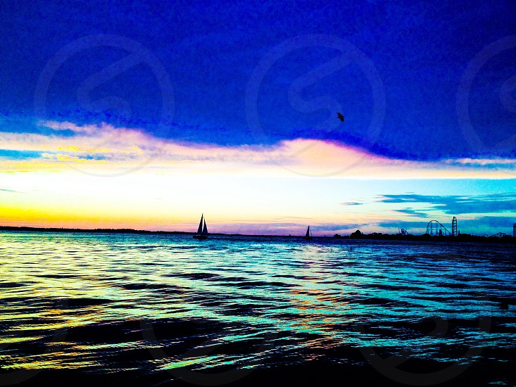 View of sailing boat and blue skies photo