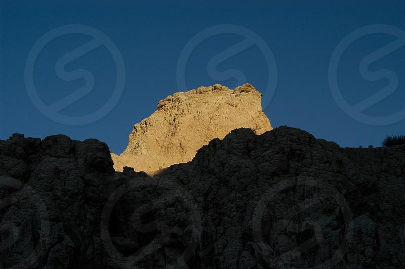 Badlands. Rock. Dusk. Blue.  photo