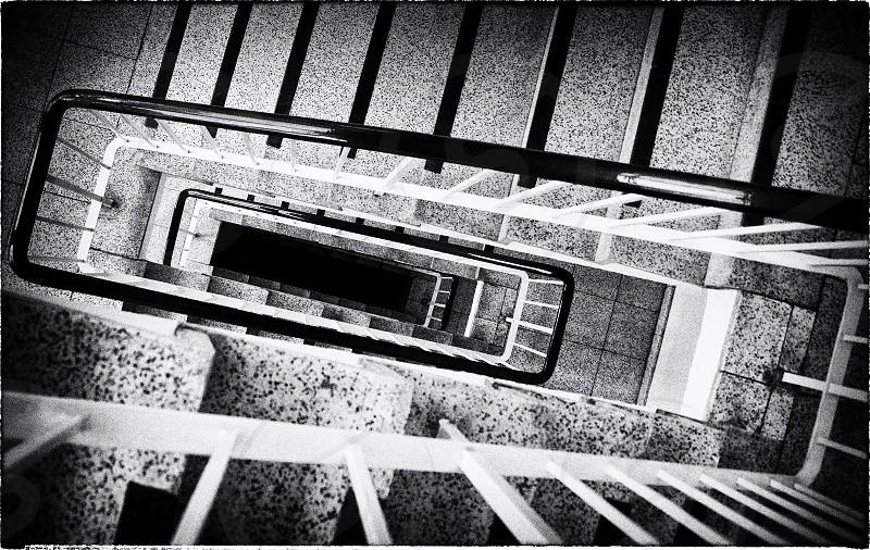 Stairwell - black & white photo