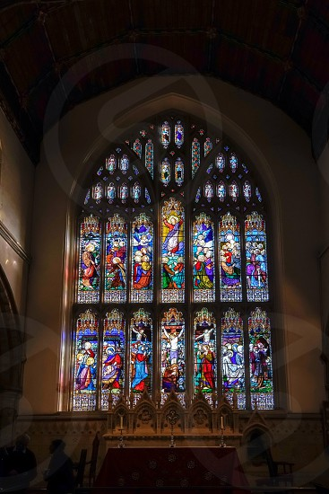 HORSHAM WEST SUSSEX/UK - NOVEMBER 30 : Stained glass window in St Mary the Virgin parish church  Horsham West Sussex on  November 30 2018 photo