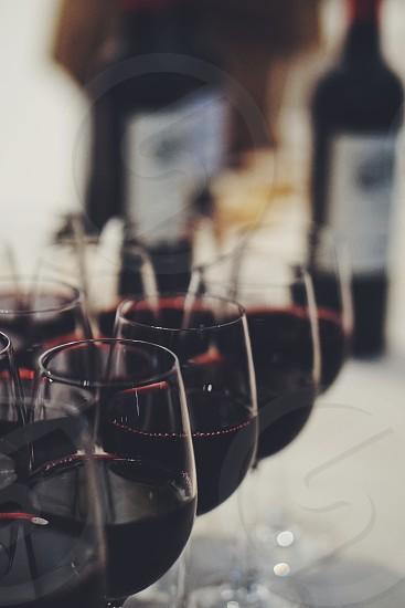 Vine glass bottle many photo