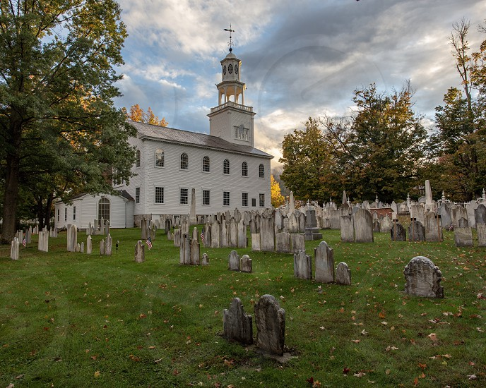 Old First Church in Vermont during Fall Foliage  photo