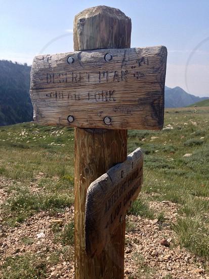 Deseret Peak trail sign. Fork in the trail. Utah.  photo