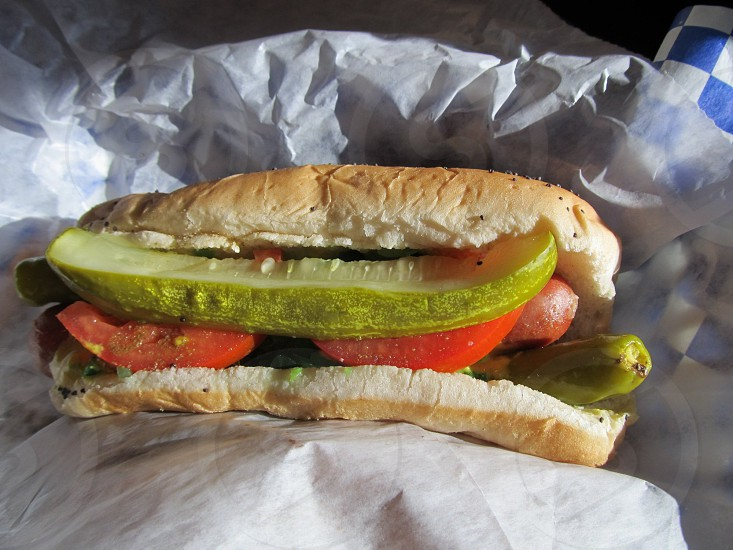 Chicago dog with dill slice photo