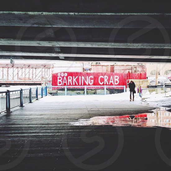 Boston. Barking Crab restaurant. Seaport. Water. Bridge. Under the bridge. Reflection. Red sign. Boardwalk. Winter. New England. Seafood. Ocean. photo