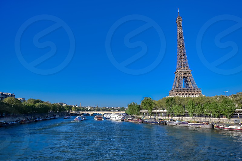 A view of the Eiffel Tower in Paris France. photo