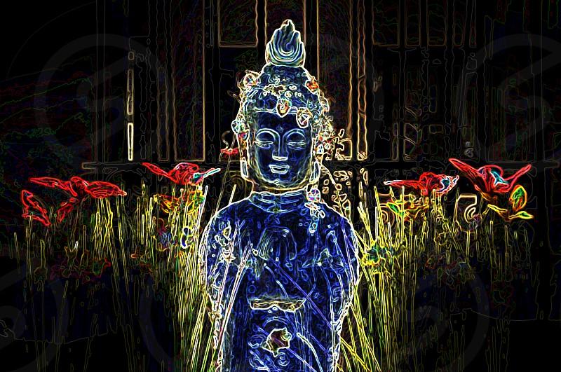 buddha meditation bliss butterflies meditating meditate tranquil pray happy photo