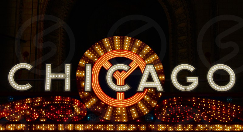 Negative space Chicago theatre lights contrast sign  photo