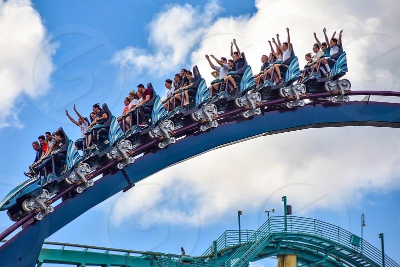 Orlando Florida. December 26 2018. People having fun rollercoaster ride  at Seaworld in International Drive area  (3) photo