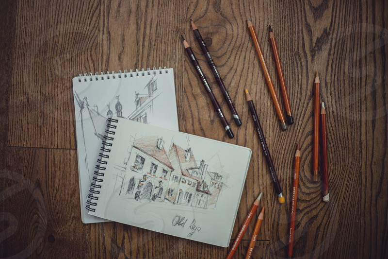 derwent sketch sketchbook painting drawing draw pastel soft pencils charcoal desk table wooden architectural art traveling card painting Riga education home indoor photo