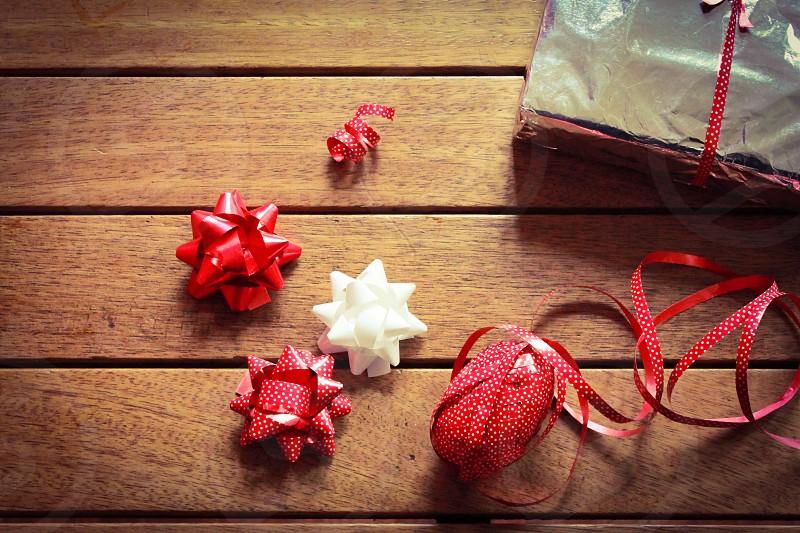 Xmas Christmas ornament festive holiday December   wrapping gift ribbon present photo
