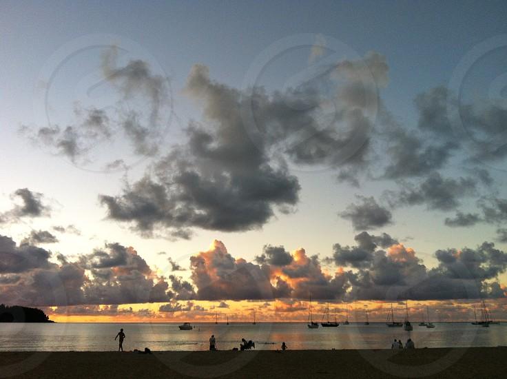Hawaii Kauai beach sunset clouds sailboats Hanalei photo